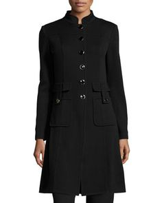 Santana+Embellished+Zip-Front+Jacket,+Black+by+St.+John+at+Neiman+Marcus+Last+Call.