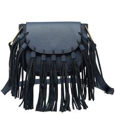 """P2006 Blair Blue. With exquisite side hardware, and perfectly placed fringe, our Blair crossbody will have everyone asking you: """"Where did you get that bag?""""  Premium Vegan Leather Magnet Top Closure Adjustable Crossbody Strap Interior Slim Pockets Interior Zipper Pocket Dimensions 8.5'L x 3'W x 7'H Colors:Black,Blue, Gray    Color: Blue Item Fit / Dimensions: 8.5'L x 3'W x 7'H Made In: United States Shipped From: United States Lead Time: 3 - 4 days"""