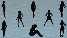 Women standing and sitting in different poses silhouette vector files. A perfect collection of eight women standing and posing in different styles ideal for any women related graphic design work.