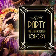 Gatsby Party Sign, 8 x 11 x 16 x size, Gatsby Party, Art Deco Party Supplies - Black and Gold Cards, Jojo Siwa Birthday, Sonic Birthday, Zombie Birthday, Free Birthday Invitations, Free Printable Invitations, Beanie Boo Birthdays, Art Deco Party, Bubble Guppies Birthday, Photo Booth Frame