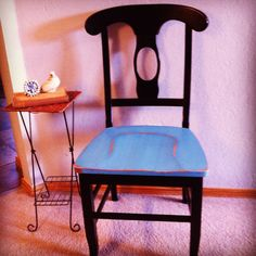 Napoloeon style chair dressed up with turquoise DIY chalk paint and distressed.