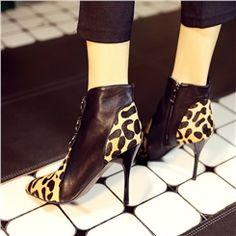 Shoespie Leopard Contrast Buckles Decoration Stiletto Heels