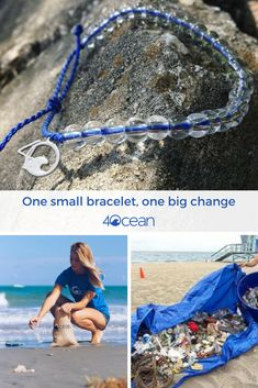 By purchasing this bracelet, you will remove one pound of trash from the ocean. Our bracelet is made from Recycled Materials. The beads are made from recycled glass bottles & the cord is made from recycled plastic water bottles. Every bracelet purch 4 Oceans, Save Our Oceans, Save Our Earth, Save The Planet, Clean Ocean, Save Environment, Beach Hacks, Recycled Glass Bottles, Ocean Crafts