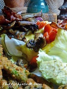 Low Carb Bacon Onion Mushroom Bunless Cheeseburger