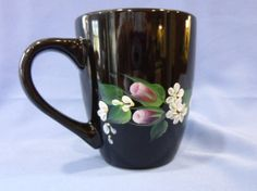 Hand Painted Black Mug Cup Pink Roses White by bunnyhutchdesigns, $9.50