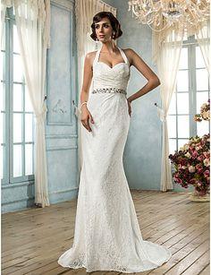novia halter vestido de novia de encaje trompeta / sirena - USD $ 199.99