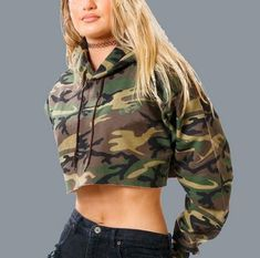 4a7051e1d79844 Khaki camouflage crop tops for women loose pullover cropped hoodie with  strings