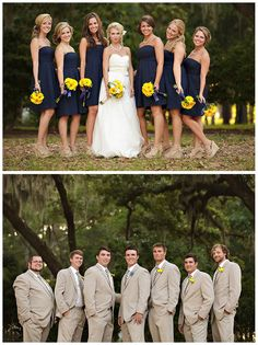 Maize and blue. Annnnd, I like the bridesmaids dresses and their shoes and the suits.