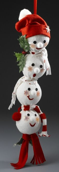 Repurpose socks, stockings & sweaters to make a snowman. Excellent idea for those loner socks that have lost their mates. Make A Snowman, Snowman Crafts, Christmas Projects, Holiday Crafts, Fun Crafts, Sock Snowman, Noel Christmas, All Things Christmas, Christmas Ornaments