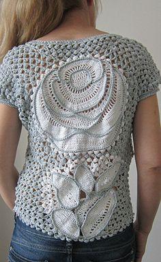 White and Gray Crochet Blouse, Freeform Crochet Sweater, Lace Crochet Top, Irish Crochet Blouse ooak crochet sweater wearable art