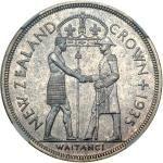New Zealand Waitangi Crown Silver 1935