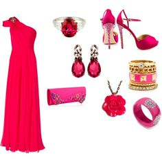 """Date time"" by mohammedyasmin on Polyvore  Hot Pink Bangle available at PlaidPanache on Etsy"