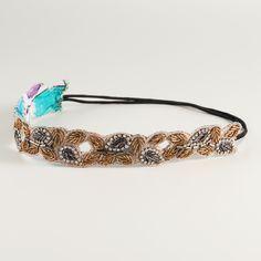 Bronze Leaf and Rhinestone Headband | World Market