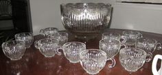"Lancaster Glass Co ""ROYAL"" Punch Bowl Set with 16 cups"