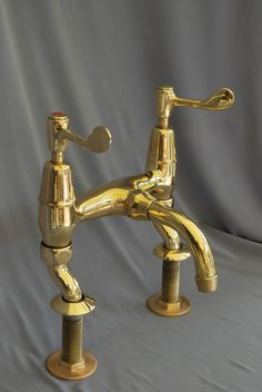 Brass tall bib taps idea belfast kitchen sink taps reclaimed ...