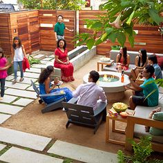Really like the layout of this outdoor social area and the Azuria Blue Fire Glass  found here - http://www.allbackyardfun.com/urban-fire-glass/
