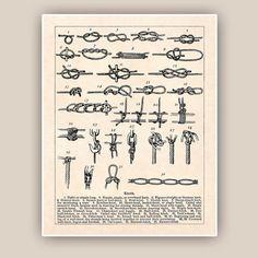Sailor Knots Print Nautical knots Marine Knots Poster by AlgaNet, $25.00