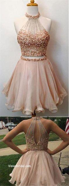 9939cc1007 Blush Pink Two Piece Halter Key Hole Back With Pearls Homecoming Dresses