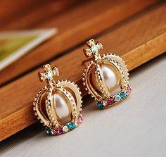 Crown Shape Colorful Rhinestone Stud Earrings on Luulla