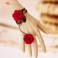 I found 'Victorian Gothic Lolita Handcrafted Vintage Lace Rose Ring Bracelet Set on Wish, check it out! Lace Bracelet, Flower Bracelet, Bracelet Set, Vintage Bracelet, Hand Bracelet With Ring, Antique Bracelets, Flower Jewelry, Necklace Set, Pendant Necklace