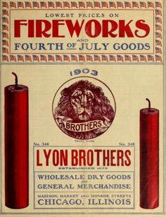 Fireworks advertisement, from the Lyon Brothers 1903 catalog. Free printable.