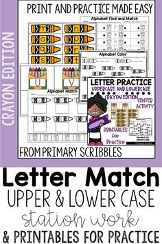 This product contains 1 center (either in color or black and white) and several printables for students to practice the skill of letter matching between uppercase and lowercase letters. For the center, students will match the crayon (with lowercase letters) to the crayon box (with uppercase letters). This can be done as a station using a sensory bin or just laying the apples and pies out on a table or the floor. Also included are printables for extra practice and support. Uppercase And Lowercase Letters, Alphabet Letters, Guided Reading Activities, Grammar Skills, Reading Comprehension Strategies, Letter Matching, Learning The Alphabet, Lower Case Letters, A Table
