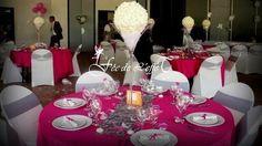 Décoration mariage Fushia centre de table vase martini et boule de roses