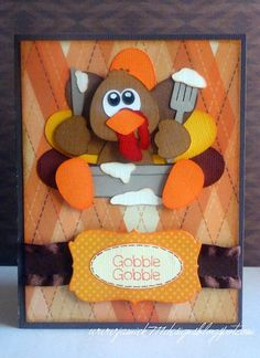 Turkey Gobble Gobble Card made with new Jaded Blossom stamps and a Little Scraps of Heaven file.