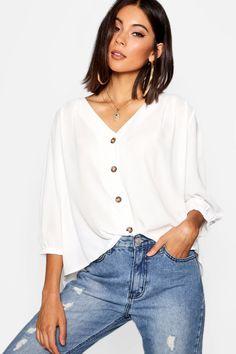 Womens Horn Button Through Blouse - white - 12 Teintes Pastel, Kimono, Latest Tops, Fresh Kicks, Moda Online, Fashion Over 50, Long Sleeve Crop Top, Blouse Designs, Casual