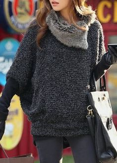 Love Love LOVE this Sweater! Fashionable Grey Turtle Neck With Fur Loose-Fitting Batwing Sleeve Women's Sweater #Cozy #Street #Style #Fall #Fashion #Outfit #Ideas