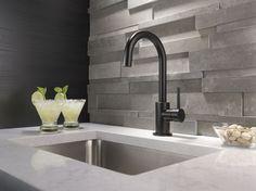 Delta Faucet Trinsic Single-Handle Bar-Prep Kitchen Sink Faucet, Matte Black in Bar Faucets. Bar Faucets, Delta Faucets, Bathroom Faucets, Bathrooms, Küchen Design, House Design, Interior Design, Design Ideas, Latest Kitchen Trends