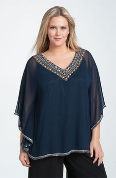 Adrianna Papell Beaded Chiffon Circle Top (Plus) available at #Nordstrom