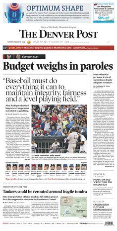 Tuesday, August 6, 2013 Denver Post A1.
