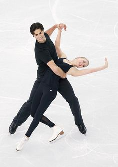 Ice dancers Kaitlyn Weaver (R) and Andrew Poje of Canada practice ahead of the Sochi 2014 Winter Olympics at the Iceberg Skating Palace on F...