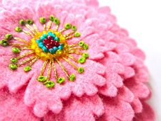 Pink Felt Flower with Embroidery by Ikuko Fujii--such beautiful embroidered flowers.