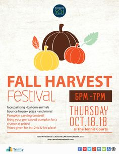 Mark your calendars and get ready for the Fall Harvest Festival! We'll have face painting, balloon animals, and more festive fun!