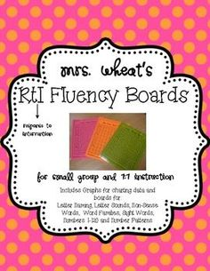 RtI Boards (Response to Intervention)- find a way to adapt to Math Response To Intervention, Reading Assessment, Reading Fluency, Reading Intervention, Reading Strategies, Teaching Reading, Guided Reading, Learning, Teaching Activities