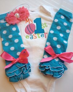 Baby Girl Easter MY FIRST EASTER outfit by AboutASprout on Etsy, $42.00