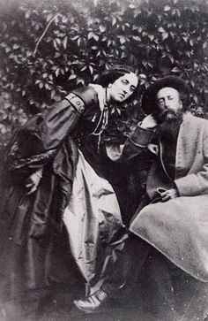 Pre Raphaelite Art: G.F. Watts and Lady Dalrymple. Photo' taken in the garden of Little Holland House, Home of Lady Dalrymple's sister, Sarah Pattle and brother in law, Henry Thoby Prinsep. Glass slide @ Watts Gallery, Compton, Guilford.