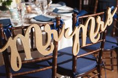 """Gold Wood """"Mr."""" """"Mrs"""" Reception Chair Signs 