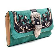 Embroidered Rhinestone Buckle Tri-fold Western Wallet ($24) ❤ liked on Polyvore featuring bags, wallets, folding wallet, embroidered bags, western wallets, credit card holder wallet and cowgirl wallets