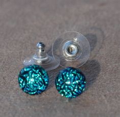 Turquoise stud earrings fused crinkle dichroic by admiralglass, $17.00