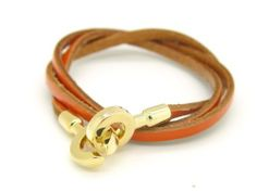 """Genuine Leather Triple Wrap Bracelet/Gold Tone Hook-Brown Leather eshop. $17.99. This is a great quality leather adjustable bracelet. 22"""" inches in Length and Three Adjustable Settings(with toggle clasp). """"Triple"""" Genuine Leather Wrap Bracelets. UAS SELLER and FAST SHIPPING"""