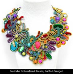Soutache Embroidery made the way for a genre of hand made jewelry that is incredibly creative as well as fun and fashionable. This craft originated with Dori Csengeri Etsy Embroidery, Beaded Embroidery, Textile Jewelry, Beaded Jewelry, Maxi Collar, Soutache Necklace, Earrings, Schmuck Design, Bead Weaving