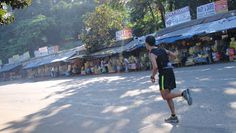 Raul Patrick Concepcion running along the Sumulong Highway in the Philippines.