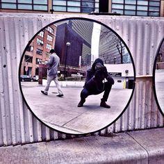 Stride By Reflection Selfie, Parking Lot Mirror | Chicago - cpplunkett.photos