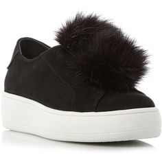 Steve Madden Bryanne Pom Pom Trainers (£28) ❤ liked on Polyvore featuring shoes, sneakers, slip on shoes, steve madden sneakers, flat shoes, platform slip on shoes and canvas sneakers