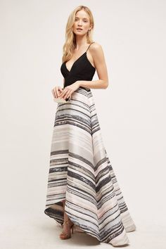 Badgley Mischka Miramare Gown - love the colors and the modern, sophisticated cut. Mullet Dress, Dress Skirt, Dress Up, Dress Form, High Low Gown, Frack, Hi Low Dresses, Grad Dresses, Vogue
