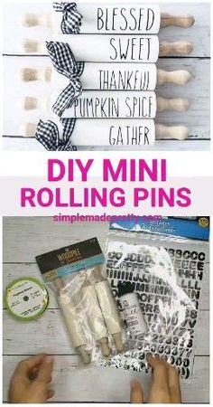 DIY Mini Rolling Pins - mini rolling pins Rae Dunn, mini rolling pin decor - Diy and crafts interests Diy Craft Projects, Diy Home Crafts, Dollar Tree Decor, Dollar Tree Crafts, Diy Videos, Craft Videos, Rolling Pin Display, Dollar Tree Christmas, Christmas Time