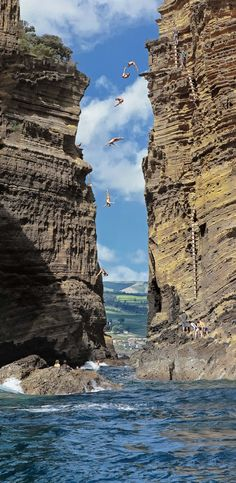 This is the island my husband's family is from. Someday we need to visit! Cliff Diving, Azores, Portugal